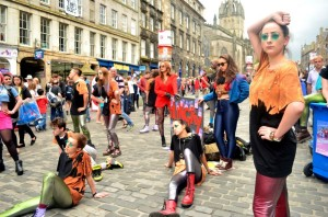 Street theatre in Edinburgh's Royal Mile during the summer festival