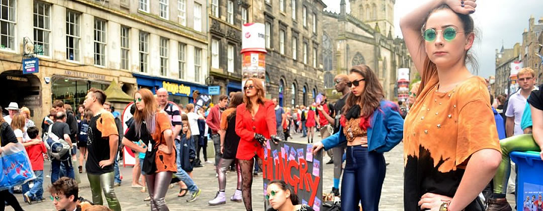 Street theatre on the Royal Mile during the Edinburgh Festival