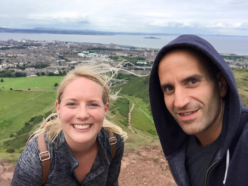 ESU teachers, Lindsay and Mike, on the top of Arthur's Seat